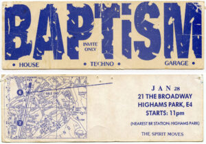 Baptism flyer showing location at Highams Park broadway