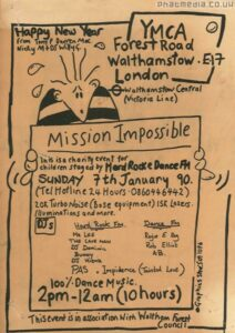 Handrawn flyer for a night at the YMCA, Forest Road, Walthamstow, courtesy of Phatmedia Archive