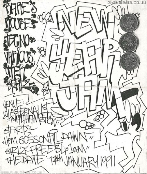 Handrawn flyer for a party in Shernhall Street, , courtesy of Phatmedia Archive